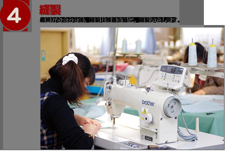 縫製:最終打ち合わせ後、縫製仕様書を基に、縫製いたします。